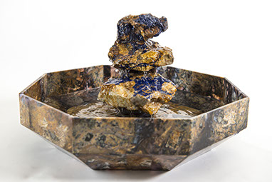 Agate and Azurite stone art water fountain by Santa Fe Stone Creations