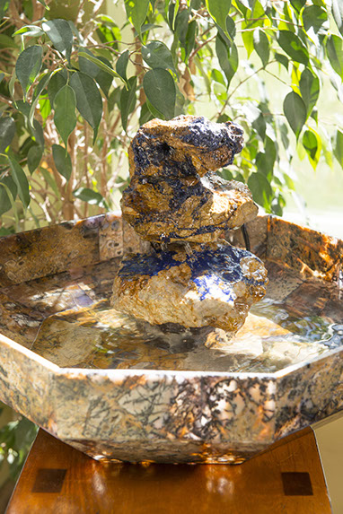 Agate and Azurite stone art translucent water fountain by Santa Fe Stone Creations