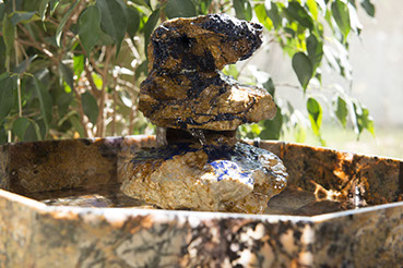 Azurite stone art water fountain center piece by Santa Fe Stone Creations